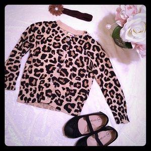 3/$20 Leopard print cardigan sweater & headband